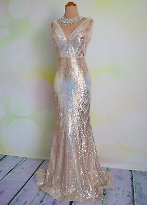 NWT Sequin 2020 EVENING PAGEANT FORMAL BALL GALA DRESS WEDDING GOWN 6
