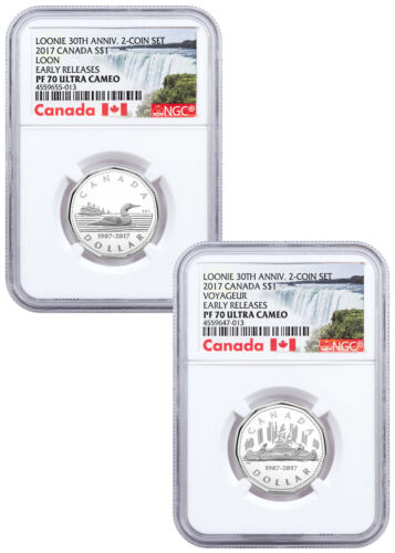 Set of 2 - 2017 Canada Loon 30th Anniv 1/4 oz Silver $1 NGC PF70 UC ER SKU48232