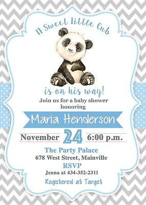Panda Bear Baby Shower, Panda, Baby, Baby Boy, Bear, Blue, Invitation - Panda Baby Shower