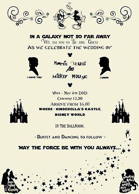 Disney | Marvel | Star Wars | Geek | Nerd - Wedding Invitations - Sample