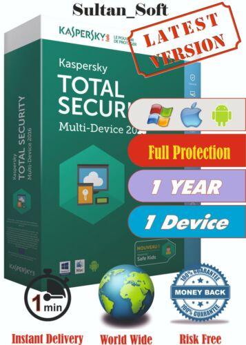 Kaspersky Total Security - 1Dev/1Yr - 2021 - Global Key - Instant Email