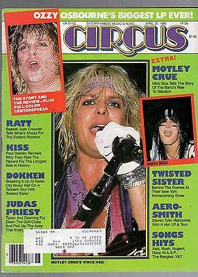 APRIL 30 1986 CIRCUS MAGAZINE-VINCE NEIL MOTLEY CRUE COVER-OZZY OSBOURNE POSTER