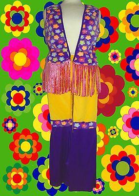 231✪ Hippie Kostüm Prilblumen Schlaghose Fransenweste Mütze 70er - Hippie Fransen Weste Kostüm