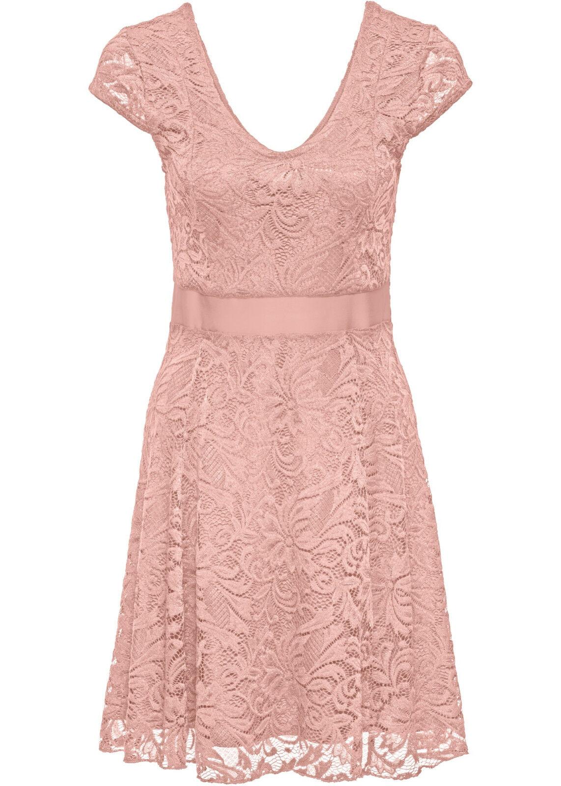 Sommer Kleid Rosa oder Blau S M L XL mit elastischer Spitze Knielang neu 450