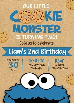 Cookie Monster Birthday Party Invitation, Cookie Monster, Invitation, - Monster Birthday Invitations
