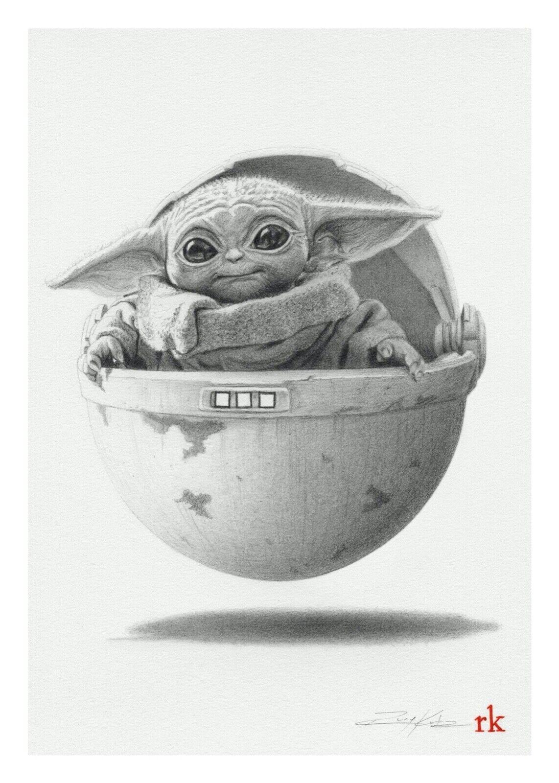 """""""The Bounty"""" 5 x 7 Variant Print Rory Kurtz Baby Yoda Mandalorian Mondo"""
