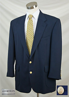 ANDHURST 42L Solid Navy Blue Blazer Sport Coat Jacket Gold Eagle Crown Buttons
