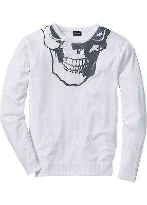 Slim Fit Herren-pullover (Herren Pullover Slim Fit Sewater Pulli Langarmshirt weiß 48 / 50 M NEU)