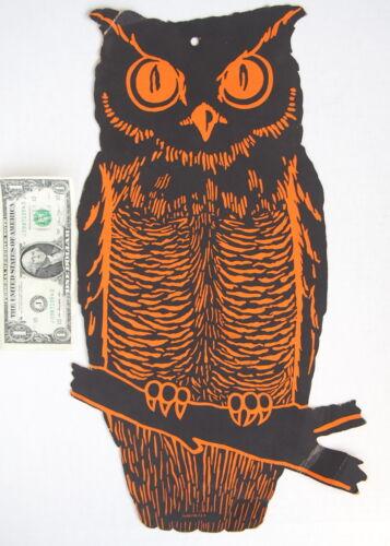 """True Vintage Antique Dennison Halloween Owl Decoration on Branch 10""""x 18"""" Diecut"""