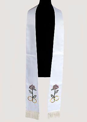 White Wedding Stole (Style02), Clergy Vestment, Satin Silk Fabric