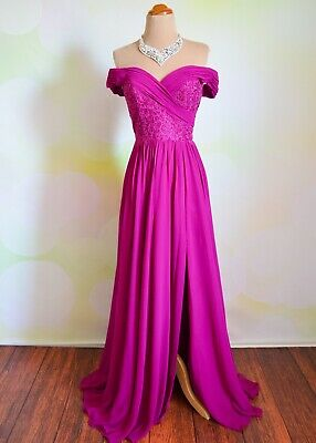 MAGENTA PROM 2020 EVENING PAGEANT FORMAL BALL GALA DRESS WEDDING GOWN XS 2/4 Pageant Gala Gown Dress