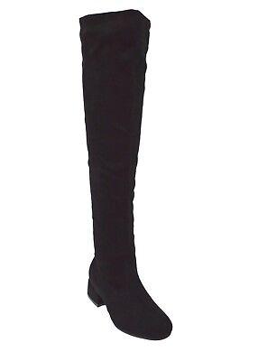 Stivali neri donna alti sopra il ginocchio stivale scamosciato tacco basso e zip
