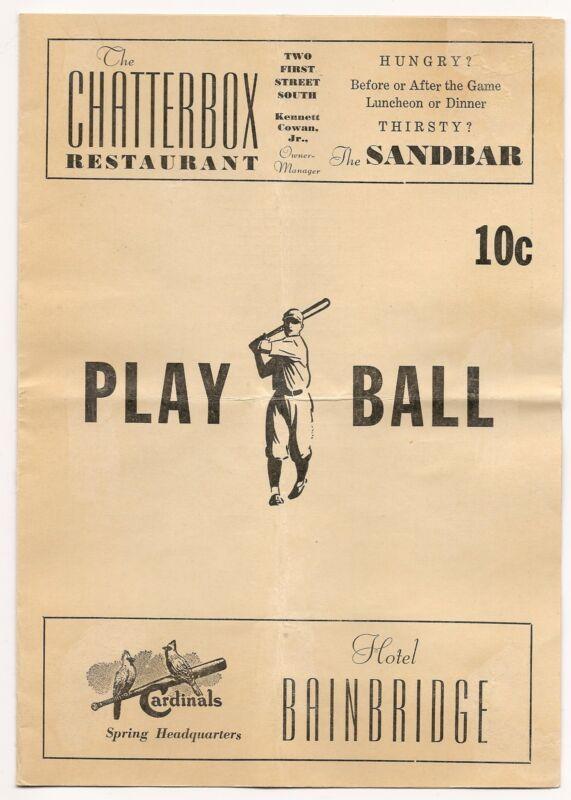 1947 St. Louis Cardinals-Tigers Spring Training Program/Scorecard Rare!!
