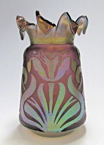 Rare KRALIK Iridescent Etched Cameo Art Glass Vase ca.1900 Loetz Rindskopf Era
