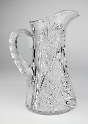 Vintage Clear Cut Glass Pitcher Heavy Thick Water Breakfast Juice Hand Crystal
