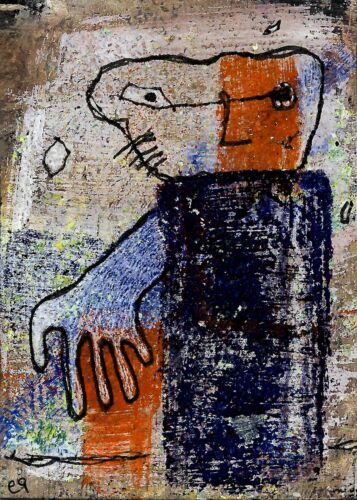 two sides to every man e9Art ACEO Outsider Abstract Art Painting Figurative Brut