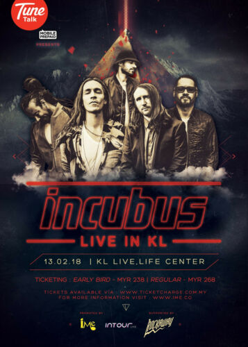 "INCUBUS ""LIVE IN KL"" 2018 MALAYSIAN CONCERT TOUR POSTER - Alt / Funk Rock, Metal"