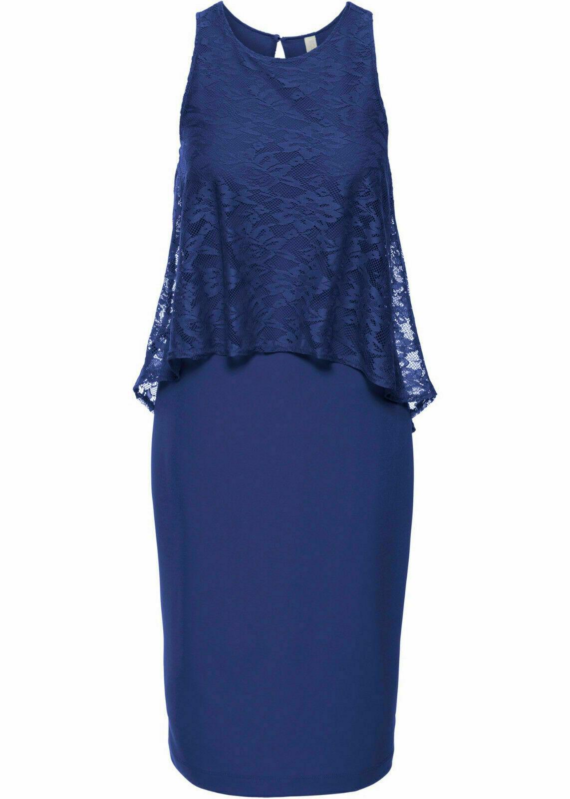Damen charmantes Kleid mit Spitze Gr. 32 mitternachtsblau NEU