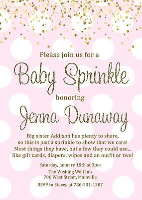 Baby Sprinkle Invitations (Baby Sprinkle Invitation, Girl, Pink, Gold, Baby Shower, Sprinkle,)