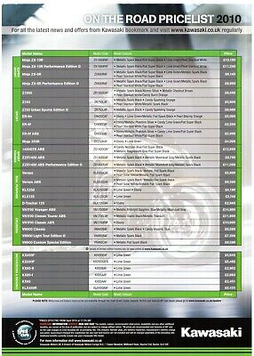Kawasaki Motorcycles Price & Dealer List 2010 UK Market Leaflet Brochure