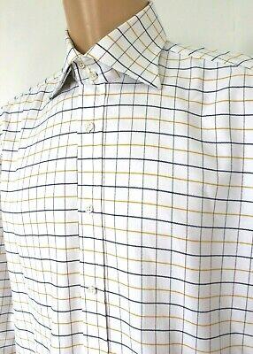 "Mens Katharine Hamnett Shirt White Yellow Blue Check L/S 16.5"" Pit to Pit 24"""