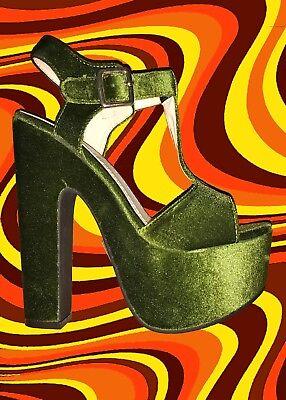S49✪ 60er 70er Jahre Hippie Samt Plateau Schuhe T-Riemen Sandale grün Gr 38