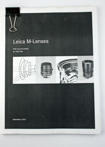 "196974 *PHOTOCOPY* of Leica Lenses ""Their Soul and Secrets"" 2002"