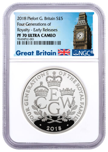 2018 G Britain Four Generations Royalty Piedfort Silver £5 NGC PF70 ER SKU52407