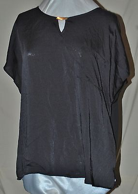 ELEMENTZ FASHION FROM MACY'S TUNIC BLOUSE SLINKY BLACK GOLD BAR EMB  3X NEW