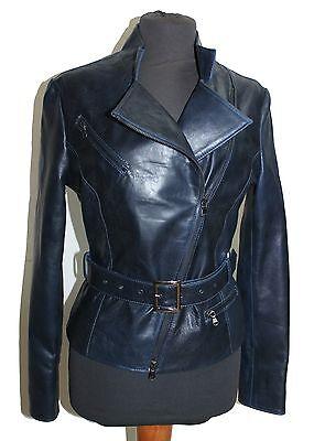 ITALIAN HANDMADE WOMEN LEATHER BIKER JACKET SLIM FIT BLUE BLACK DISTRESSED M Black Distressed Italian Leather Jacket