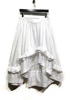 Cédric Charlier White Asymmetrical Ruffled Cotton Skirt