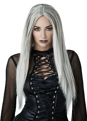 Grey Wig Costume (Witch Vampire Gothic Matriarch Women Adult Costume Wig - Black or)