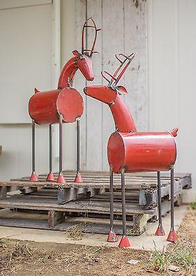 Halloween Red Deer ( 2 Recycled Metal Red Reindeer Reclaimed Barrel Deer Rustic Holiday Christmas)
