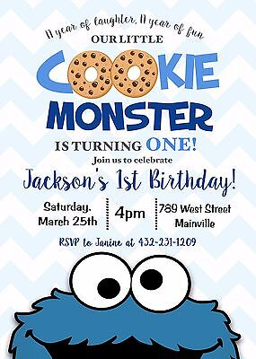 Cookie Monster Invitation, Cookie Birthday, Any Age, First, Second, - Monster Birthday Invitations