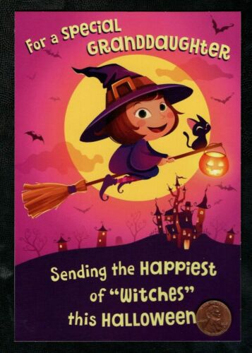 Halloween Girl Witch Costume Hat Cat Kitten For Granddaughter Greeting Card NEW