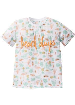 2 Stück Mädchen Kinder T-Shirt  Gr. 128 134 mit Druck beach days neu 261 - Neuen Mädchen, Kind 2 Stück