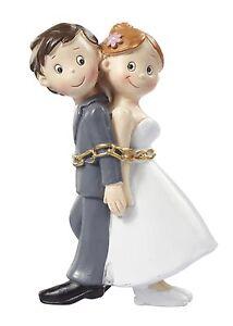 Lustiges Brautpaar in Ketten Tortendeko Tortenaufsatz Tortenfigur Hochzeit