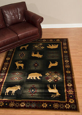 Rustic Lodge Deer -  Lodge Cabin Rustic Bear Deer Moose Wolf Southwestern Area Rug