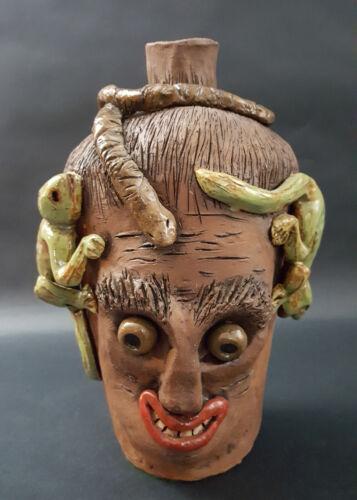 Lizards & Snake Face Jug Art Pottery Signed