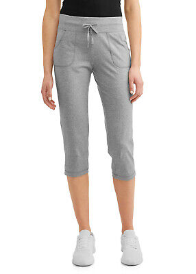 ***NEW ATHLETIC WORKS WOMEN'S ATHLEISURE CASUAL CORE KNIT GRAY CAPRI PANTS