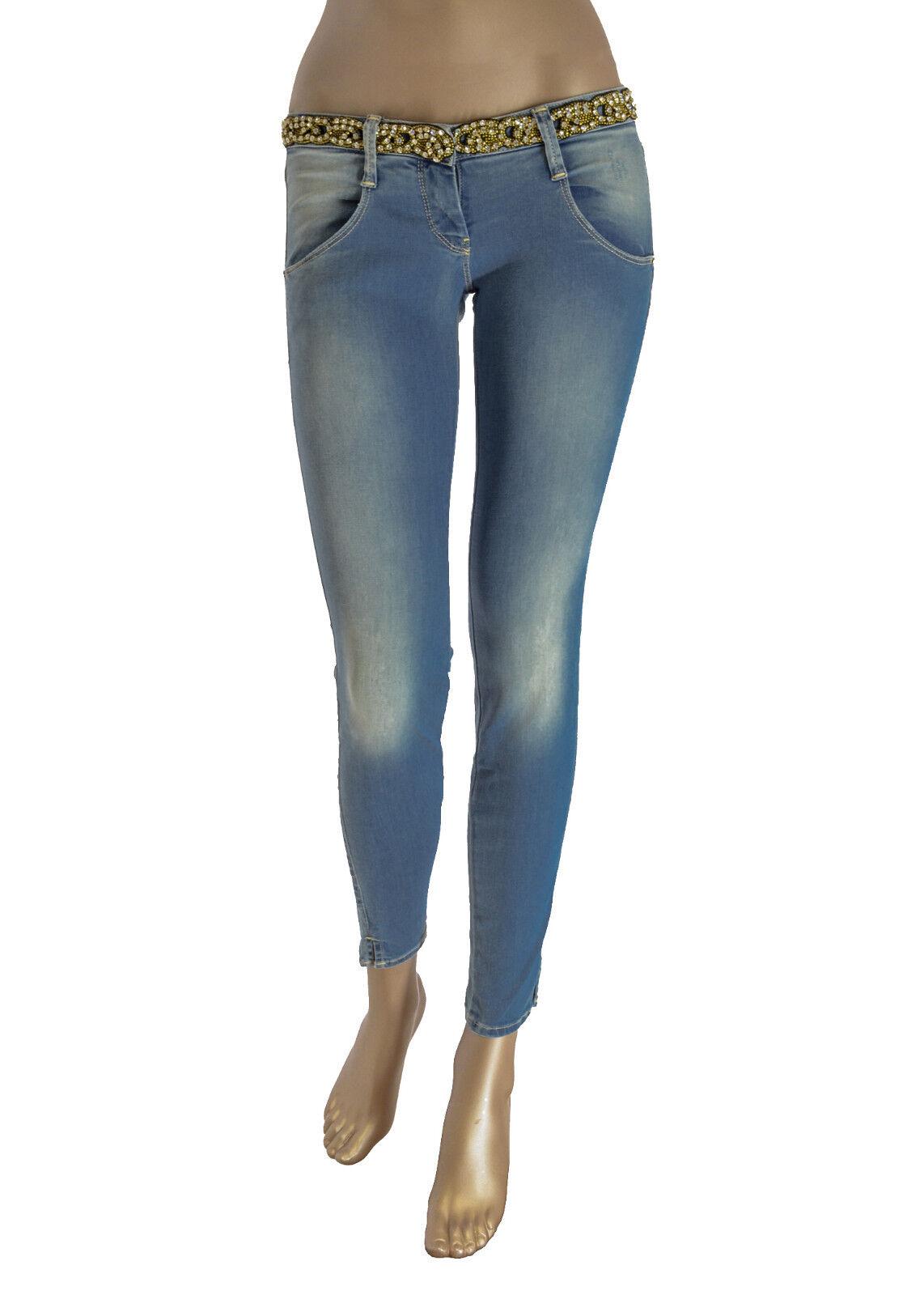 jeans donna MET effetto delave Cintura non removibile con strass -serie gioiello