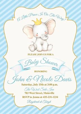 Elephant Prince Baby Shower Invitation, Prince, Elephant, Invitation, Baby, Boy (Baby Shower Invites Boy)