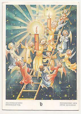 Ak Adventskalender Postkarte Himmelsleiter Mundgemalt von Irene Schricker !