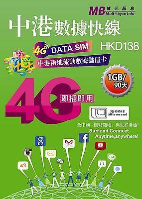 Prepaid Data Sim 1Gb 90 Day China   Hk
