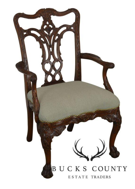 Georgian Style Carved Mahogany Arm Chair with Hariy - Paw Feet