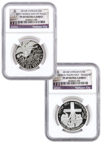Vatican World Day of Peace Silver Proof Coins NGC PF69 UC Set of 2 2016 SKU46604