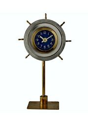 Skipper Aluminum Table Clock - Shelf Clock Mounted in Ship's Wheel
