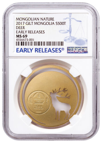 2017 Mongolia Nature Roaring Deer Cut-Out Silver Gilt NGC MS69 Early Releases