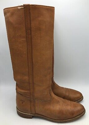 Frye Vintage Tan Leather Tall Riding Boots Womens Size 8.5B Made In -