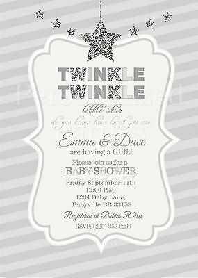 Twinkle Twinkle Little Star Baby Shower Invitations In Silver